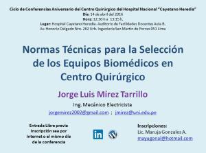 Conferencia Normas Técnicas para la Sección de Equipos para Centro Quirúrgico